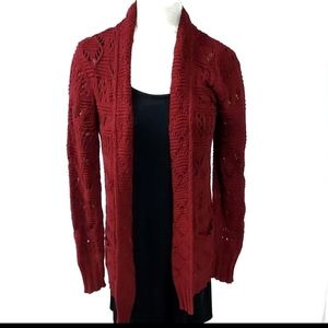 Lucky Brand Red Cardigan Sweater Size Large